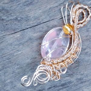 Handmade gold coated wire woven bead pendant